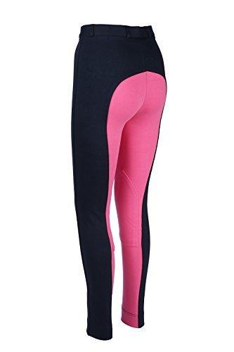 Damen Jodhpur Reithose Weiche Stretch Hose Alle Größen & Farben, Marineblau/Rosa, Size 16/32-Inch