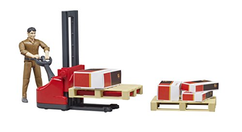 elektro handstapler bruder 62210 Fahrzeug UPS Logistik Figurenset, bunt