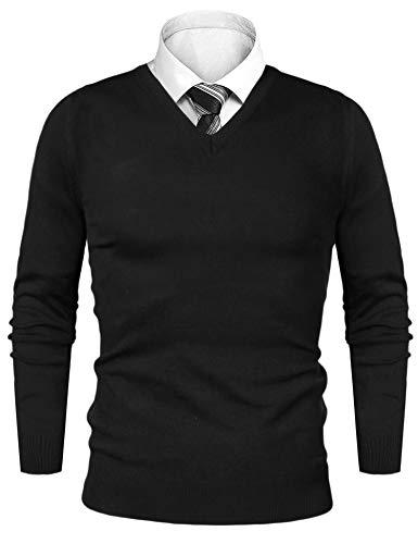 iClosam Herren Pullover Casual V-Ausschnitt Langarm Slim Fit Baumwolle Sweater Schwarz X-Large