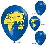 10 Ballons Globus Weltkugel blau/schwarz/gelb, ca. 30 cm