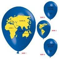 Unbekannt 10 Ballons Globus Weltkugel blau/schwarz/gelb, ca. 30 cm