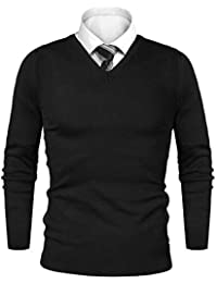 iClosam Pull Homme col V Cardin Hommes Pull en Maille Pull en Coton  Classiques e6f5478ef57f