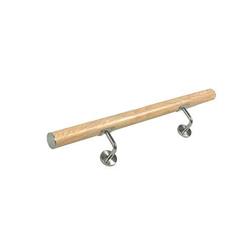 MCTECH Geländer Edelstahl Handlauf Treppengeländer Wandhandlauf Wandhalter, für drinnen und draußen Treppen Balkon Brüstung (100cm, Leichte Holzmaserung)