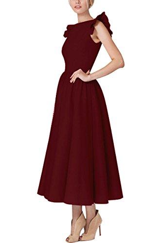 (YMING Damen Sommerkleid Ärmellos 50er Retro Partykleid Rund Ausschnitt Cocktailkleid Vintage Midikleid,Burgundy,S)