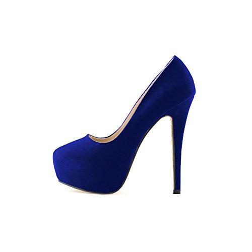 Ochenta Damen Pumps in Velvet High Heels Nadel Plattform Dick Kriech Komfortable Schuh Soiree Hochzeit Blau
