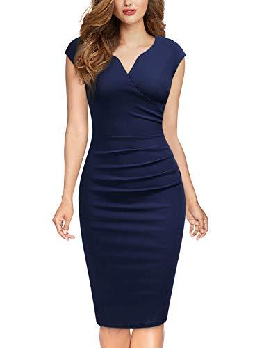 Miusol Damen Elegant Etuikleid Sommer Kleid V-Ausschnitt Caparm Vintage Businesskleid Cocktailkleider Navy Blau Gr.S