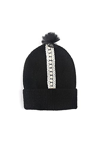 Tricotés Pom Pom Beanie chapeau avec cravate de cheveux MIRMARU. Black