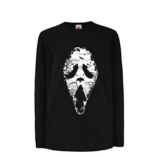 lepni.me Kinder-T-Shirt mit Langen Ärmeln Tribal Sensenmann Schrei - Tod gruselig beängstigend (14-15 Years Schwarz Mehrfarben)