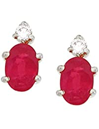 His & Her Diamonds .925 Sterling Silver, Diamond and Ruby Stud Earrings