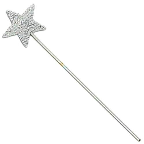 erdbeerloft- Mädchen Zauberstab mit Stern, Engel, Feen Kostüm, Silberfarben (Süße Santas Helfer Kostüme)