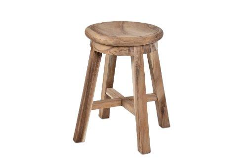 DIVERO Hocker Suar Holz Sitzhocker Holzhocker rund massiv unbehandelt reine Handarbeit