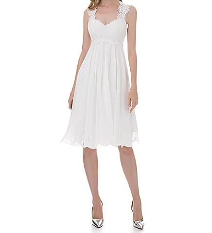 VIPbridal Sleeveless Lace Chiffon Sweetheart Short Wedding Dress Bridal Gown (UK6, White)