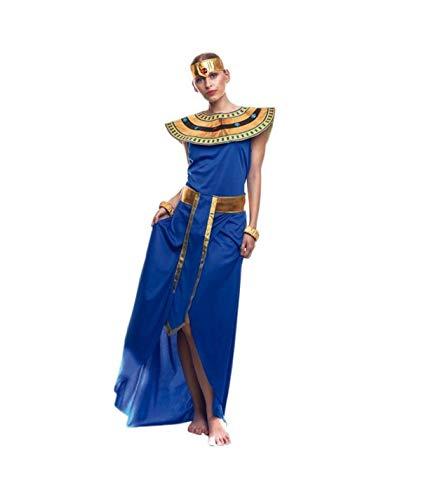 Disfraz de Egipcia para o disfraz de Cleopatra. Lujoso conjunto egipcio con una túnica azul con apertura frontal en la falda. El cinturón es una pieza dorada y alargada. El cuello con adornos de gemas de plástico va a uego con el tocado. Los brazalet...