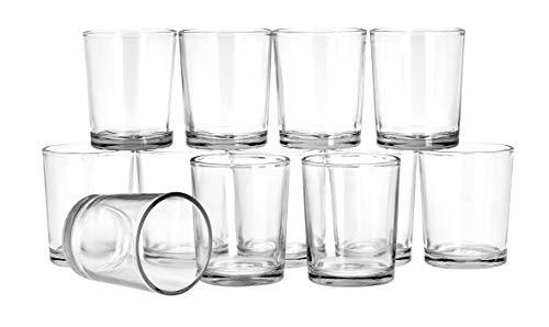 VBS 12er-Set Teelichthalter Glas klar ca. 6cm hoch 4,7cm Durchmesser Teelichter Teelichtglas Gläser zum Basteln Kerzen Windlichter Votivgläser Klar-glas