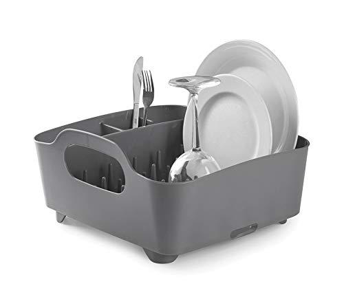 Umbra Tub Geschirr Abtropfgestell - Abtropfkorb mit integriertem Tropfwasserabfluß für Ihre Spüle oder Arbeitsfläche in Ihrer Küche Zuhause, im Büro oder Wohnwagen, Kunststoff / Anthrazitgrau - Desinfizieren Geschirrspüler