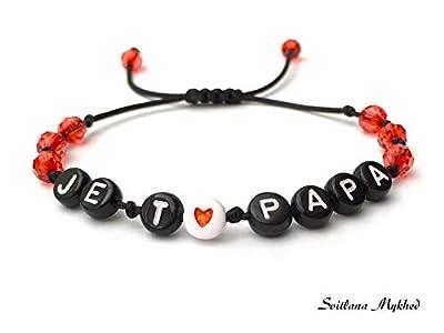 Bracelet JE T'AIME PAPA. DAD. DADDY à personnaliser avec lettres de l'alphabet; bijoux avec prénom, message, logo, initiale pour adulte, enfant. Création sur mesure! Handmade
