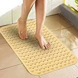 #10: LifeKrafts Bath Mat Large Size 90*58cm (Cream Color) Bath Shower Mat Anti Slip with Suction Cups