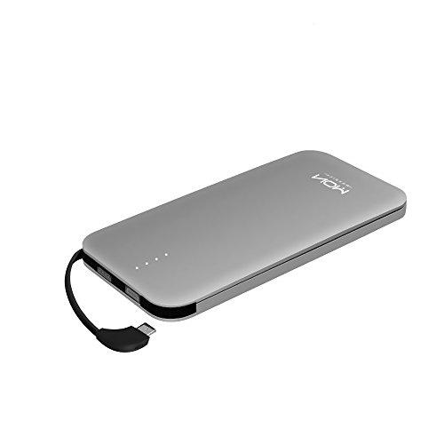 Tragbare PowerBank Moxnice 10000mAh Akkupack Eingebaute Micro USB Kabel Externe Batterie-Schnelle Aufladung für iphone ipad Samsung Android und Mehr Intelligente Geräte - Grau
