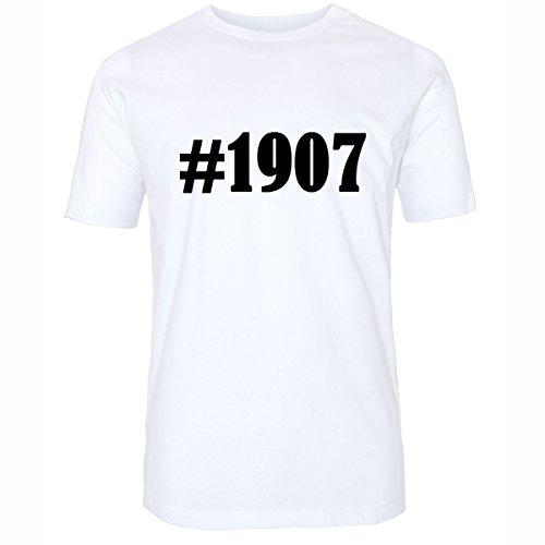 T-Shirt #1907 Hashtag Raute für Damen Herren und Kinder ... in den Farben Schwarz und Weiss Weiß