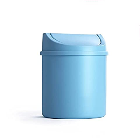 LYL Creative Desktop Trash Can Lid Mini Living Room Bedroom Bedside Creative Small House Trash (13.5 * 16.5cm) ( Couleur : Bleu )