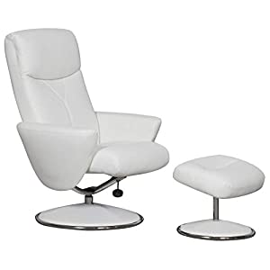 GFA Alizza Swivel Recliner Chair & Matching Footstool In White Soft Faux Leather