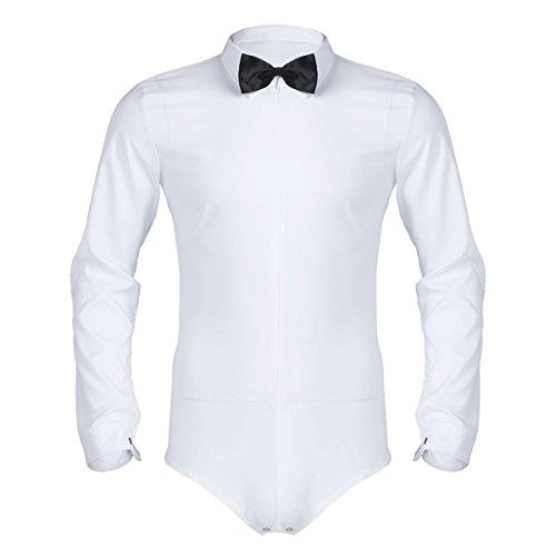 Alvivi Männerbody Herren Langarm Shirt Oberhemden Hemd Weiß Slim Fit Bodysuit Overall Unterwäsche Männer Ballett Tanz Kleidung Smoking Anzug Oberteile mit Fliege Weiß XXX-Large