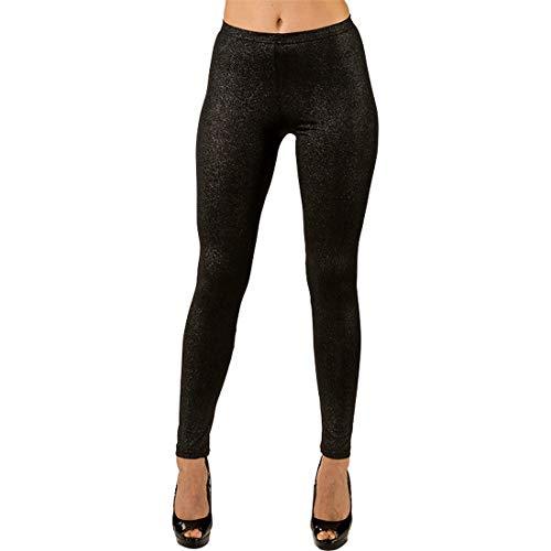 NET TOYS Glitzernde Leggings für Damen   Schwarz in Größe L/XL (44 - 50)   Glänzende Damen-Pants 80er Jahre   Wie geschaffen für Halloween & Fastnacht