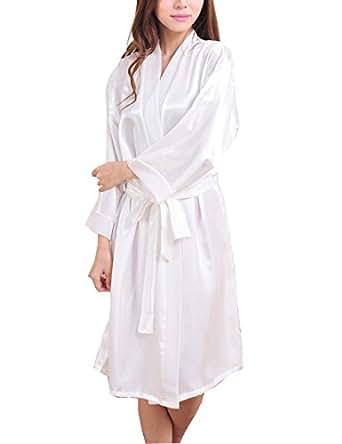 Yidarton robe de chambre kimono satin peignoir femme ete blanc v tements et - Robe de chambre femme ete ...