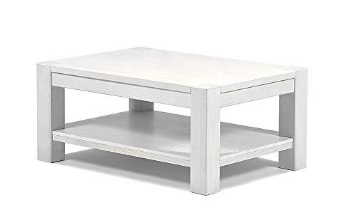 isch mit Ablage,Rio Bonito, 100x70cm, Höhe 55cm, Pinie Massivholz Weiss lackiert, Wohnzimmer Tisch Farbton White Grain (Höhe 55cm) ()