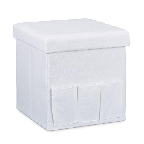 Relaxdays Faltbarer Sitzhocker 38 x 38 x 38 cm stabiler Sitzcube mit 3 Seitentaschen Sitzwürfel aus Leinen Sitzbank als Aufbewahrungsbox mit Stauraum und Deckel zum Abnehmen für Wohnraum, weiß