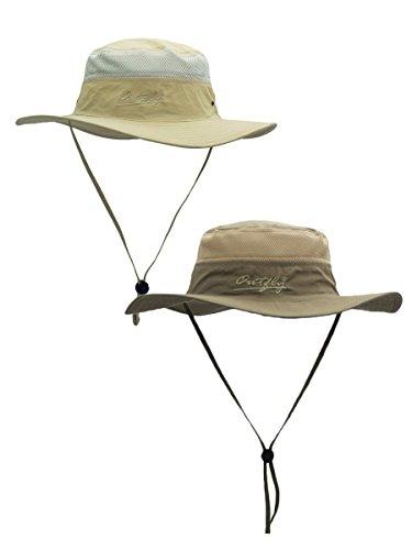 WANYING 2 Stücke Damen Herren Outdoor Bucket Hut Fischer Hut mit Kinnband Atmungsaktiv Schnelltrocknend Sonnenschutz - Hellkhaki & Dunkelkhaki - Erwachsenen Safari Hüte