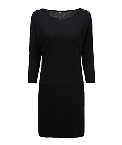 WanYang Donna Collo U Mezza Manica Cocktail Festa Mini Abito Da Sera Dress Donna Mini Abito Maniche Lunghe Signora Nero