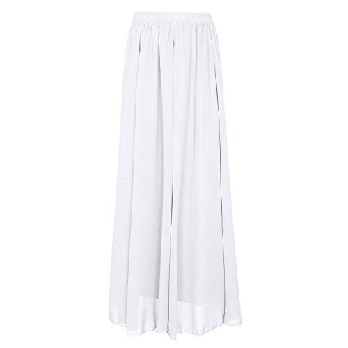 CoutureBridal® Damen Chiffon Rock 2 Layer Elastic Bund 90CM Weiß