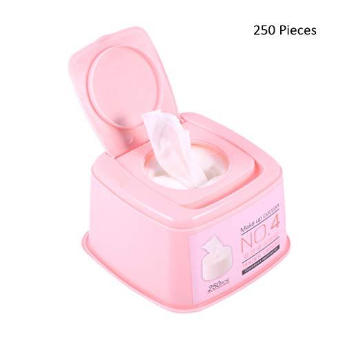 250 Pcs/Boîte Visage Démaquillants Cosmétiques Visage Nettoyage des Yeux Coton Pad Femmes Doux Feuille Maquillage Étirer Coton Pad (Color : Pink, Taille : 11.5 * 11.5 * 7cm)