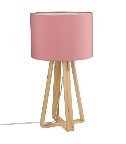 Lampe à poser avec pied en bois naturel - Style Nordique - Coloris ROSE