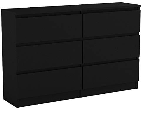 Kommode mit 6 Schubladen Malwa M6 120, Anrichte, Diele, Flur, Highboard, Mehrzweckschrank, Sideboard, Wohnzimmer, Esszimmer (Schwarz)