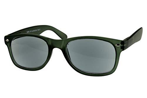 Lesesonnenbrille alle Dioptrien für Damen Herren blau grün matt getönt mit Etui und Federbügel leicht modern schmal Kunststoff 1.0 1.5 2.0 2.5 3.0, Dioptrien:Dioptrien 3.0