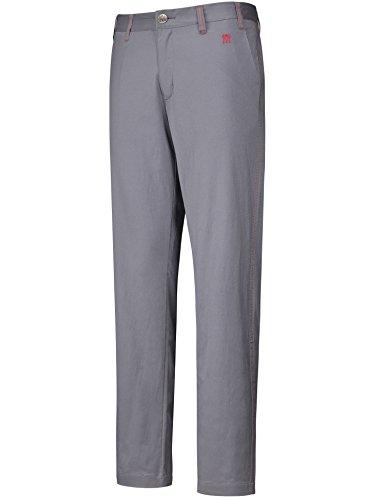 Lesmart Herren Golf Hosen Gerade Long Flat Vordertaschen Solid Slim Fit Größe 46 Grau (Golf Entspannt)