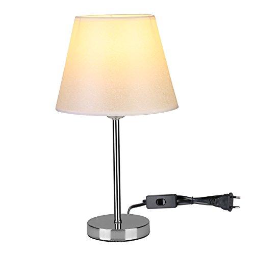LE Lámpara de mesa, LED luz mesita de noche, E27, pantalla de tela, estilo vintage para dormitorio, estudio, salon etc