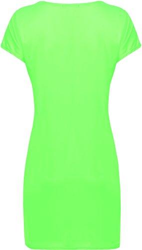 WearAll - Damen Übergröße Bodycon kurzarm Kleid Top - 8 Farben - Größe 44-48 Fluoreszierend Grün