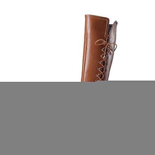 VogueZone009 Damen Spitz Zehe Mittler Absatz Hoch-Spitze Rein Stiefel mit Metallisch Braun