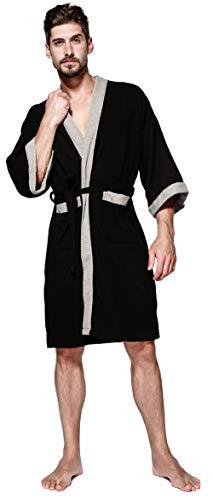 SEMIR Herren Waffelpique Bademantel Morgenmantel Nachtwäsche Kimono Saunamantel mit Taschen und Bindegürtel aus Baumwolle Schwarz M