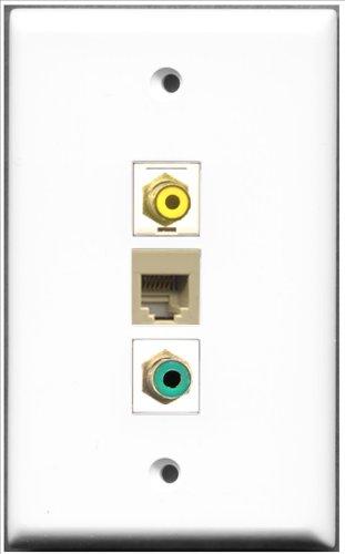 RiteAV-1Port RCA gelb und 1Port RCA grün und 1Port Telefon RJ11RJ12beige Wall Plate Telefon Wall Plate
