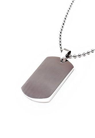 Dogtag Pendentif sur chaîne à perles pour chien–Acier inoxydable–Argent–collier homme–Étiquette d'identité militaire armée Vierge Uni–Hommes de Femme unisexe