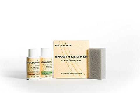 COLOURLOCK Kit Produit de nettoyage et d'entretien du cuir Nettoyage et protection des intérieurs de voiture, suites en cuir, canapés, vestes, sacs à main et autres objets en cuir contre l'usure générale, Nettoyant puissant, Small
