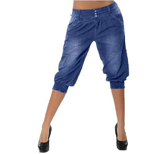 ZIYOU Damen Cowboy Hosen, Weiten Kurz Hosen Freizeit Streetwear Short Pants Frühling Sommer Herbst(3XL,Blau)