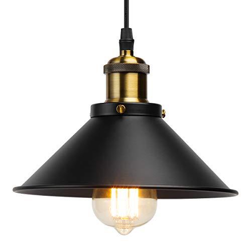 GIGALUMI Industrielampe Industrielle Hängeleuchte Vintage Pendelleuchte ø 22cm Esszimmer Lampe Hängelampe E27 Metall Schwarz für Küche, Wohnzimmer, Schlafzimmer, Restaurant