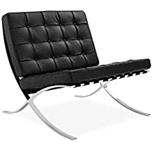 Sessel Stuhl Replik Barcelona Mies Van Der Rohe Echtleder Designer  Vetrostyle Schwarz