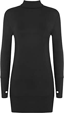 Ladies Stretch BodyCon Polo Long Sleeve Top Womens Thumb Hole Short Dress - Black - 8-10