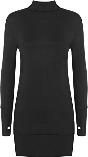 WearAll - Damen Elastisch Anliegend Langarm Rollkragen Kurz Kleid Top mit Daumenloch - 7 Farben - Größe 36-42 Schwarz